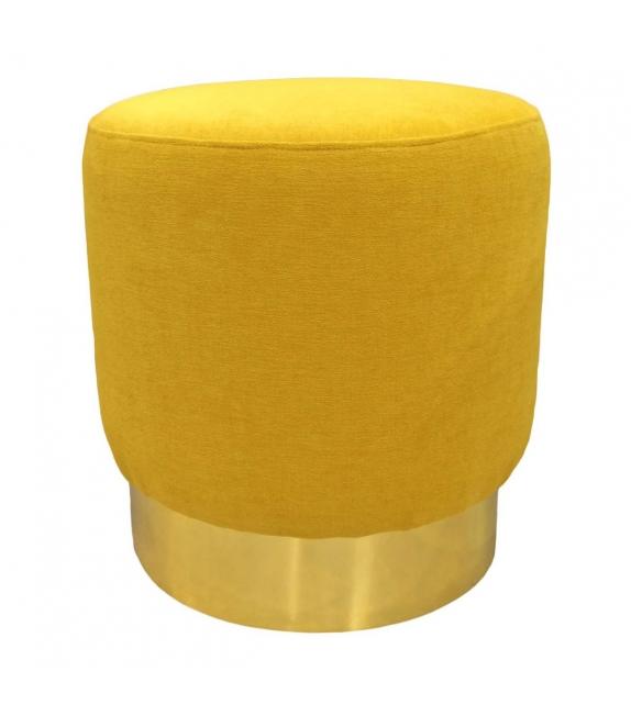 Pouf cilindro giallo ocra base ottone satinato 42x42x43 cm