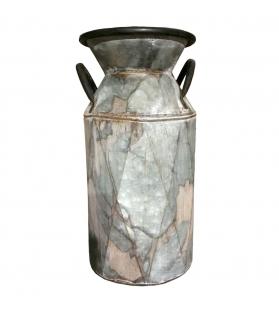 Vaso Contenitore in Latta porta fiori antichizzato H30 cm