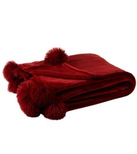Plaid Pon Pon rosso bordeaux 170x130 cm