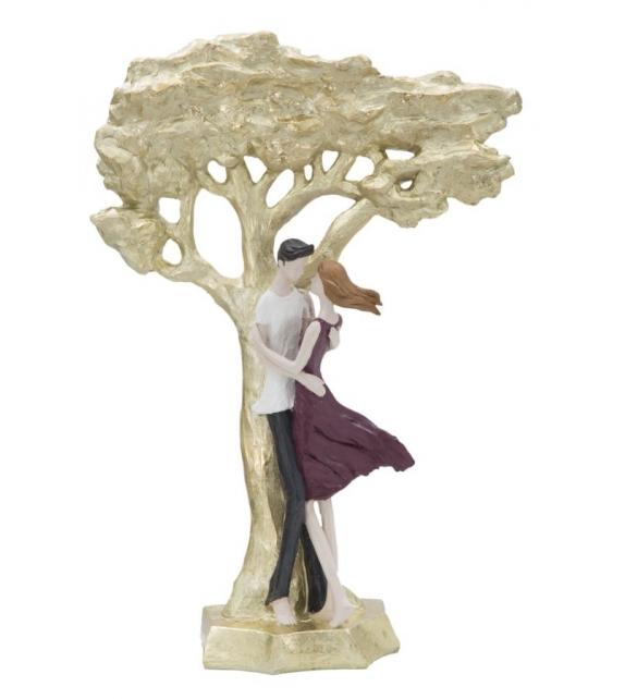 Scultura kiss coppia albero della vita cm 31x13x45
