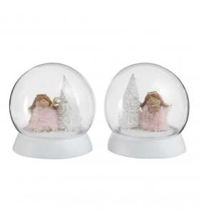 Angelo con piume rosa in Palla di vetro luminosa con neve - 2 modelli assortiti