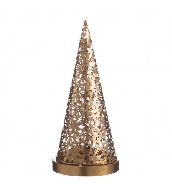Albero Natalizio Metallo Oro Lampad Led 17x17x37cm