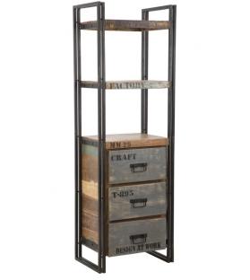 Libreria c/cassetti caribbean cm 60x40x180 (legno riciclato-pezzi unici non rip.