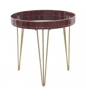 Tavolinetto da caffe' glam bordeaux cm Ø 60x60