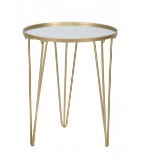 Tavolinetto da caffe' glam gold/mirror cm Ø 40x49