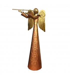 Angelo Suonatore di Flauto Metallo Rame Oro H50 cm