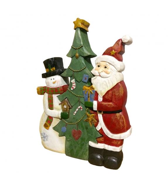 Statua legno Babbo Natale e Pupazzo di Neve tridimensionale H30 cm
