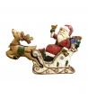 Statua legno Babbo Natale in Slitta tridimensionale 20x13x4 cm