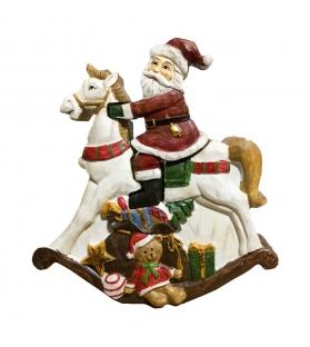 Statua legno Babbo Natale a cavallo tridimensionale 16x17x4 cm