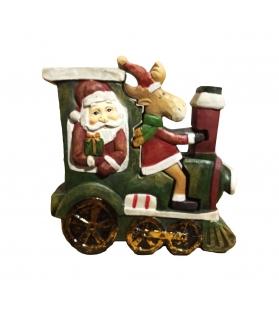 Statua legno Babbo Natale con renna tridimensionale 13x13x4 cm