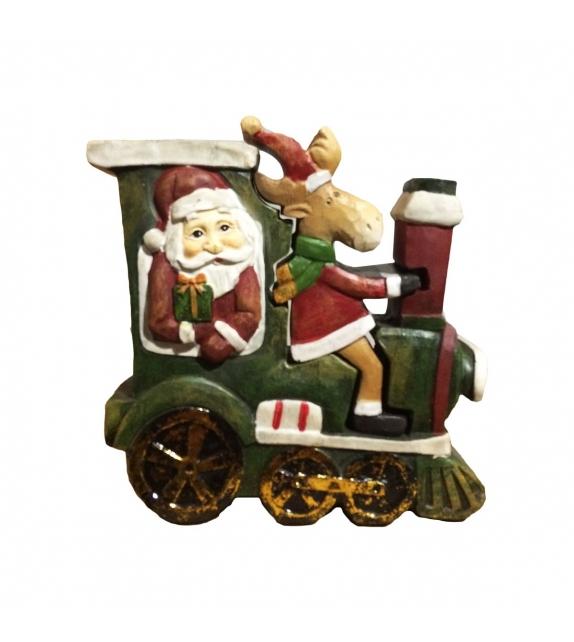 Statua legno Babbo Natale con renna tridimensionale