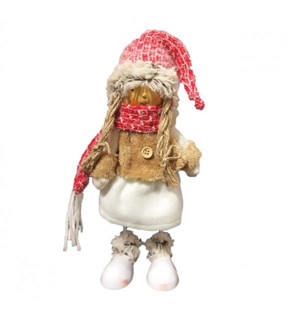 Bambola Nataliza delle Nevi Cappuccio Rosso in Tessuto h 20 cm