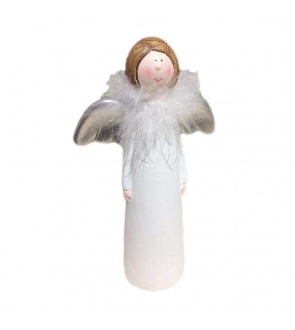 Angelo con piume ali argento H15 cm