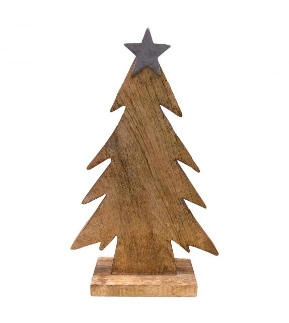 Albero Legno Natale con stella metallo H35cm