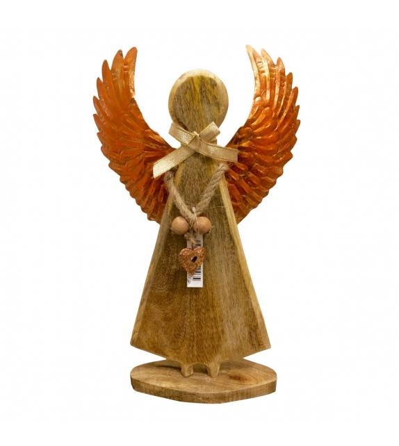 Angelo di Legno con ali Rame H30 cm
