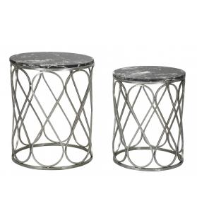 Tavolinetti latus marble coppia cm Ø 46x55-39x48