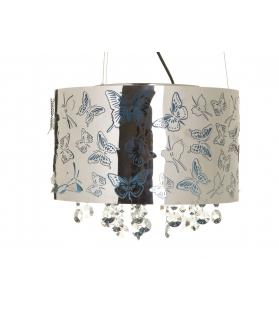 Paralume da soffitto blu farfalle c/cristalli cm Ø 40