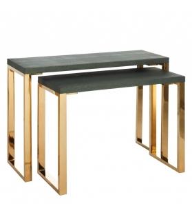 Set 2 Consolle Oro Lucido Piano Simil Pelle Verde