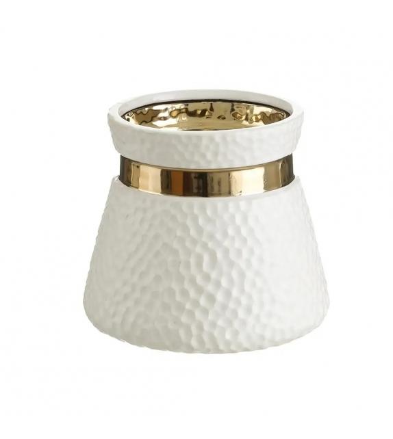 Vaso Porta Fiori Bianco Oro ceramica 18x18x16 cm