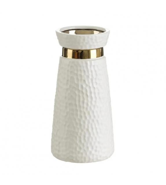 Vaso Porta Fiori Bianco Oro ceramica 13x13x26 cm