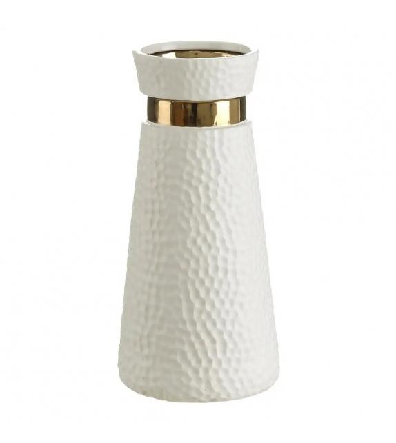 Vaso Porta Fiori Bianco Oro ceramica 15,50 X 15,50 X 32,50 cm