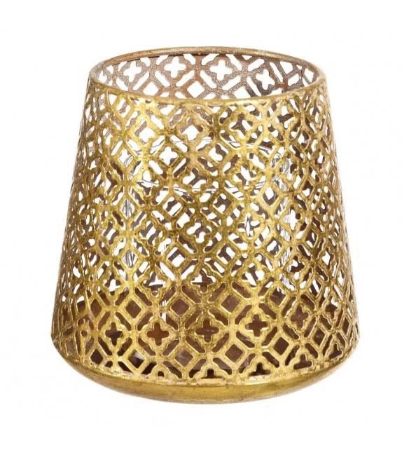 Porta Candele Oro Metallo decorazione 13 x 13 x 13 cm