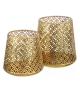 Porta Candele Oro Metallo decorazione 15 X 15 X 15,50 cm