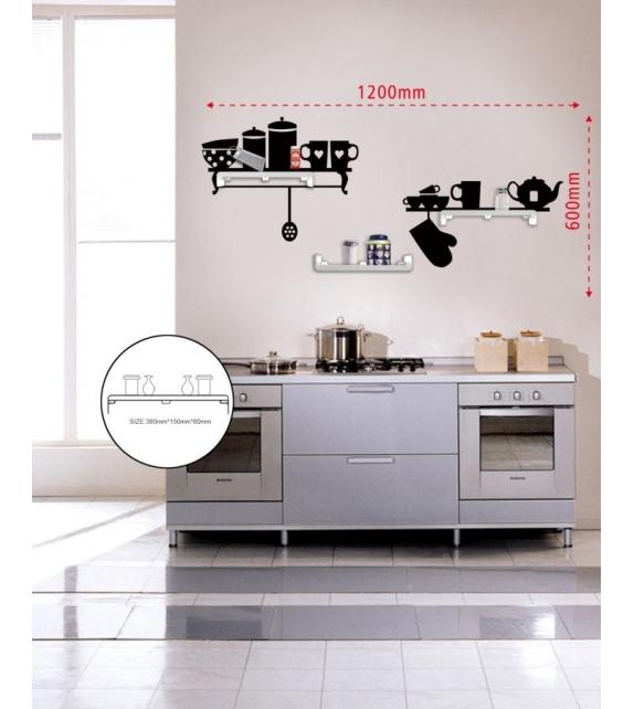 Sticker da muro kitchen con mensole cm 120x60