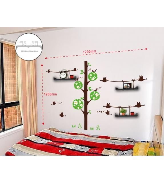 Sticker da muro birds and tree con mensole cm 120x120