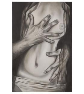 Dipinto su tela nudo abbraccio -b- cm 100x3x150