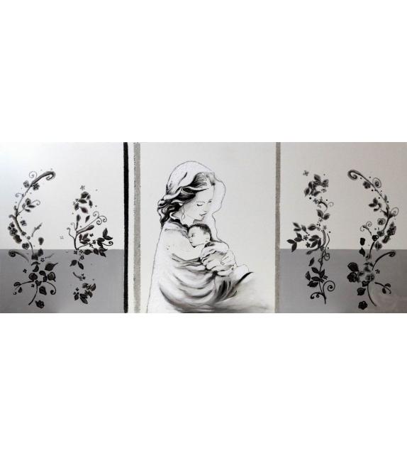 """Stampa dipinta a mano su tela madonna c/gesu' -c- """"made in italy"""" cm 60x4,5x140"""