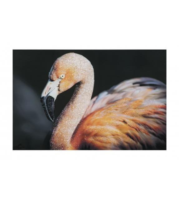 Stampa su tela con applicazioni -b- flamingo cm 120x3,8x80