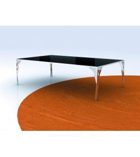 Tavolo da caffe' tree acciaio/vetro rett. Cm 120x70x35