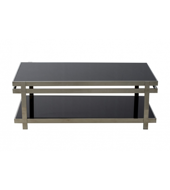Tavolo glass acciaio e vetro rett. Cm 120x65x44