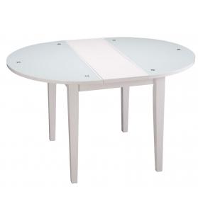 Tavolo da pranzo rot. Vetro e legno allungabile cm Ø 100x75
