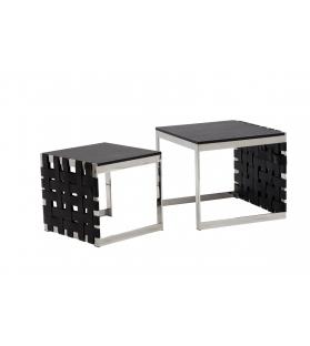 Tavolinetto da caffe' woven coppia nero cm 50x45x44-60x54x49