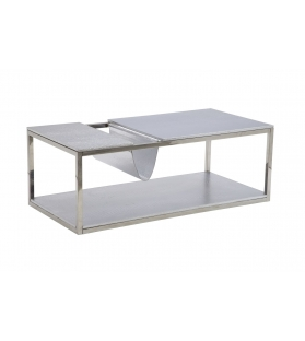 Tavolinetto da caffe' p/giornali rettangolare argento cm 120x60x42