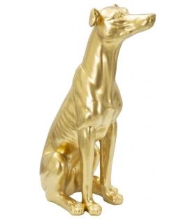 Statua Cane Glam oro Poliresina H62 cm