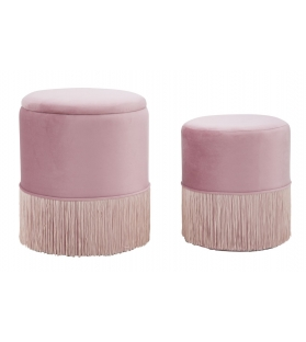 Puff/contenitore lines coppia rosa cm Ø 35x42-30x32