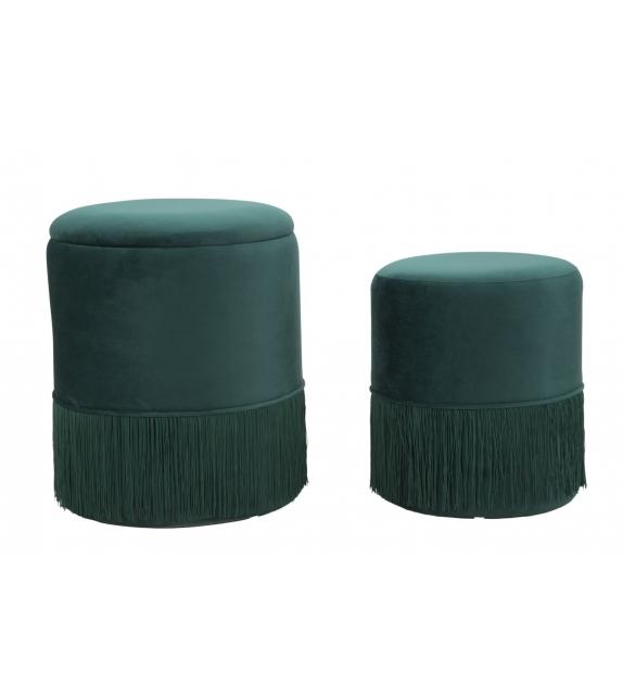 Puff/contenitore lines coppia verde cm Ø 35x42-30x32
