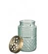Portafiore + Coperchio Cilindrico Vetro/Rame Verde H19,5 cm
