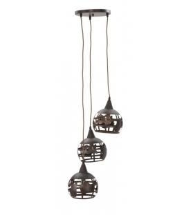 Lampadario world 3 luci industry cm 43x43x140 (sfera cm Ø 20)