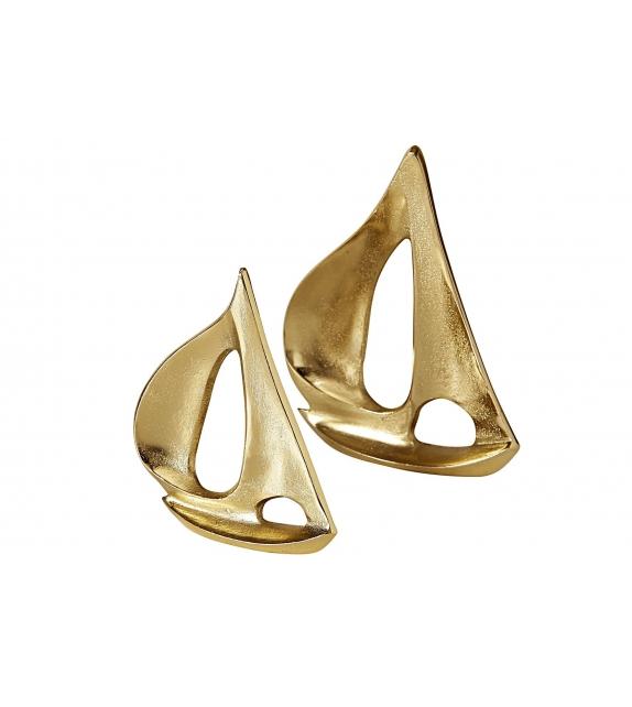 Set 2 Barca a Vela Glam Oro diametro H 16 / 18 cm