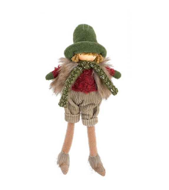 Bambola Bambino con Cappello e Sciarpa Inverno da appendere h27,5 cm