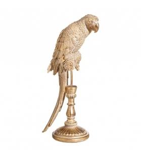 Statua Pappagallo Oro con piedistallo h44,5 cm
