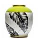 Vaso bombato foglie verde porcellana cm.26x20