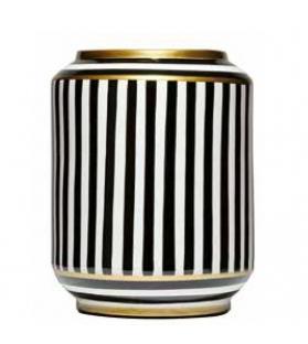 Vaso cilindrico righe bianco nero porcellana cm.23x30