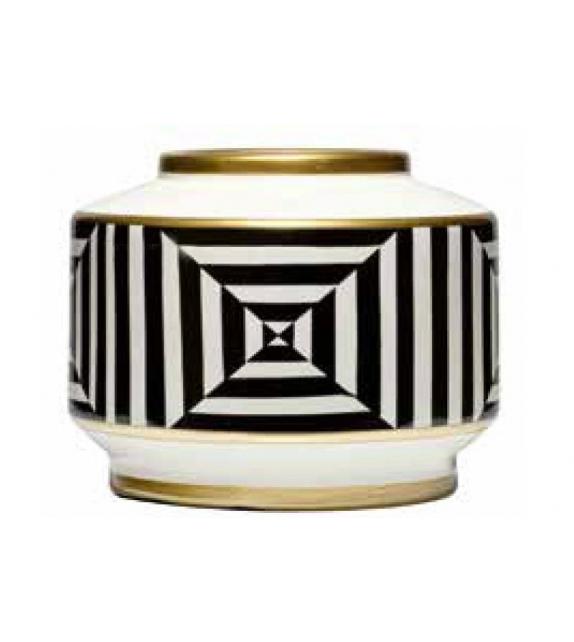 Vaso basso optical bianco nero porcellana cm.23x30