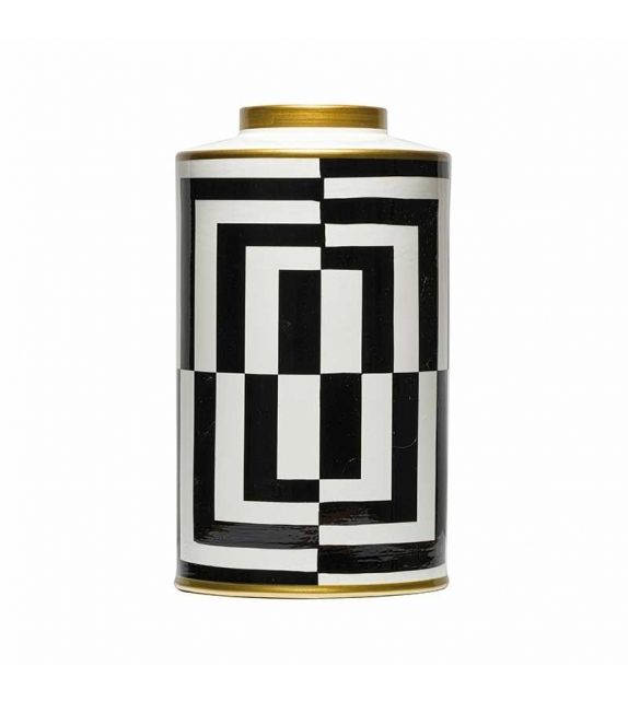 Vaso optical bianco nero porcellana cm.19,5X35h