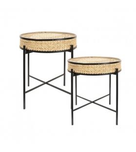 Set 2 tavolini Wien paglia di vienna 45x50/35x43 cm